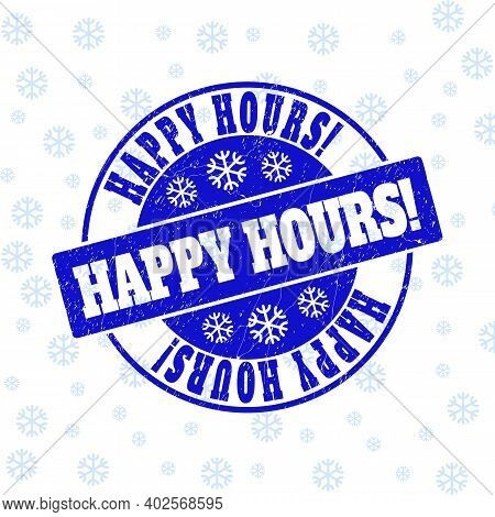 Happy Hours Exclamation. Round Stamp Seal On Winter Background With Snow. Blue Vector Rubber Imprint