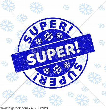 Super Exclamation. Round Stamp Seal On Winter Background With Snowflakes. Blue Vector Rubber Imprint
