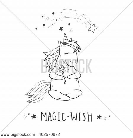 Vector Illustration Of Hand Drawn Cute Sitting Unicorn With Shooting Star, Magic Wand And Text - Mag