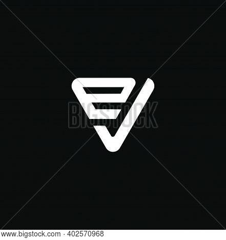 Ev Letters In Triangle Shape. Ev Logo Monogram.
