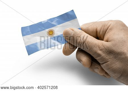 Hand Holding A Card With A National Flag The Argentina
