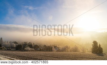 Foggy View - Seiffen In Winter Saxony Germany Ore Mountains.
