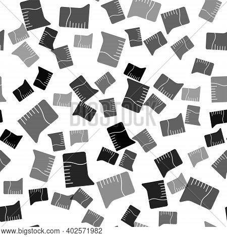 Black Measuring Cup Icon Isolated Seamless Pattern On White Background. Plastic Graduated Beaker Wit