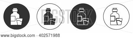 Black Bottle Of Medicine Syrup And Dose Measuring Cup Solid Icon Isolated On White Background. Circl