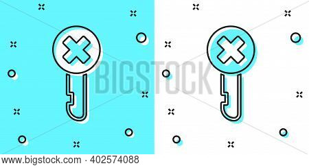 Black Line Wrong Key Icon Isolated On Green And White Background. Random Dynamic Shapes. Vector Illu