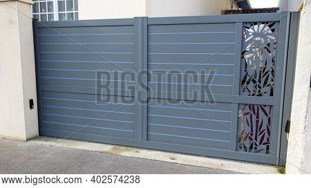 Modern Grey Gate Aluminum Home Portal Gray Door Suburban House In Street View