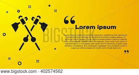 Black Crossed Medieval Axes Icon Isolated On Yellow Background. Battle Axe, Executioner Axe. Medieva