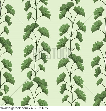 Vector Seamless Pattern With Vertical Ginkgo Biloba Branches; For Wrapping Paper, Packaging, Posters