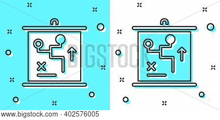 Black Line Planning Strategy Concept Icon Isolated On Green And White Background. Cup Formation And