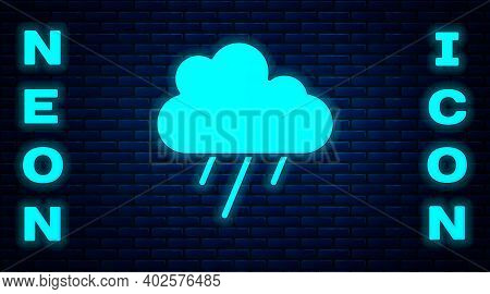 Glowing Neon Cloud With Rain Icon Isolated On Brick Wall Background. Rain Cloud Precipitation With R