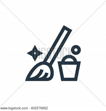 mop icon isolated on white background. mop icon thin line outline linear mop symbol for logo, web, a