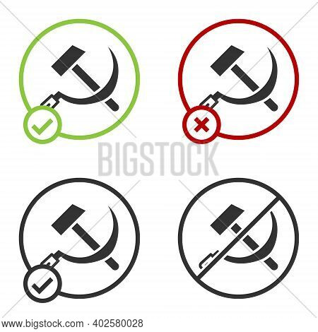 Black Hammer And Sickle Ussr Icon Isolated On White Background. Symbol Soviet Union. Circle Button.