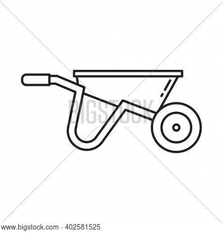 Garden Wheel Barrow Cart Line Art Icon