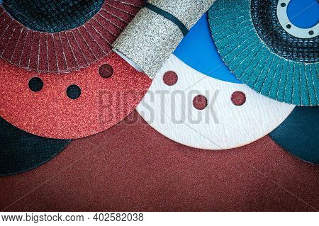 Set Of Abrasive Tools And Sandpaper For Cleaning Or Sanding Various Objects
