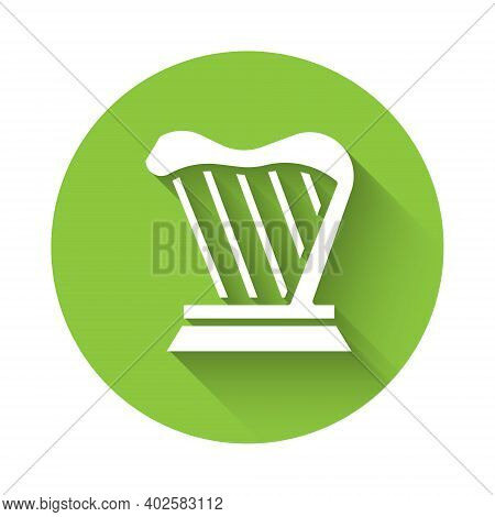 White Harp Icon Isolated With Long Shadow. Classical Music Instrument, Orhestra String Acoustic Elem
