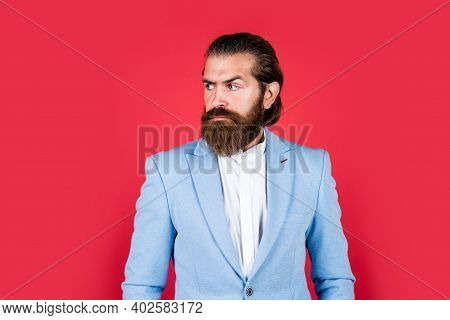 Intelligent Businessman With Beard. Bearded Man In Classical Style. Glamour Bride Groom. Man On Form