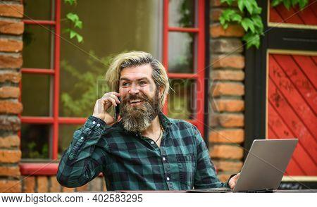 Modern Communication. Risky Shopping. Stock Trader. Online Business. Businessman Laptop Terrace. Sur