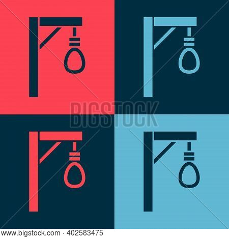 Pop Art Gallows Rope Loop Hanging Icon Isolated On Color Background. Rope Tied Into Noose. Suicide,