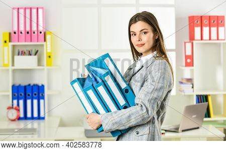 Girl Businesswoman With Documents. Administrator Secretary. Office Worker. Formal Fashion. Woman Hol