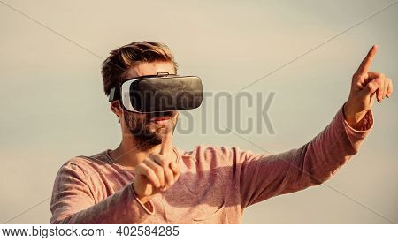 Cyber Space. Game Online. Man Wear Wireless Vr Glasses Headset. Augmented Reality. Use Modern Techno