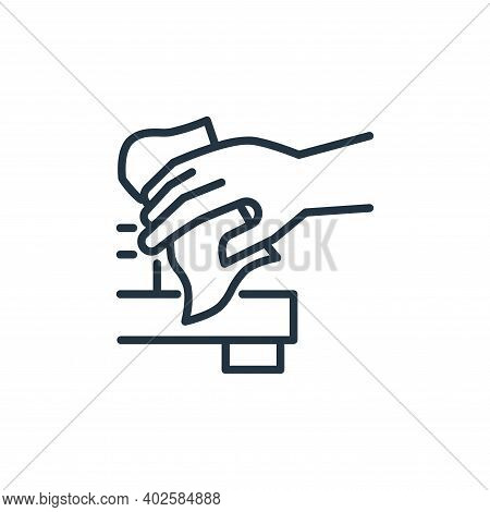 cleaning materials icon isolated on white background. cleaning materials icon thin line outline line