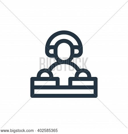 DJ icon isolated on white background. DJ icon thin line outline linear DJ symbol for logo, web, app,