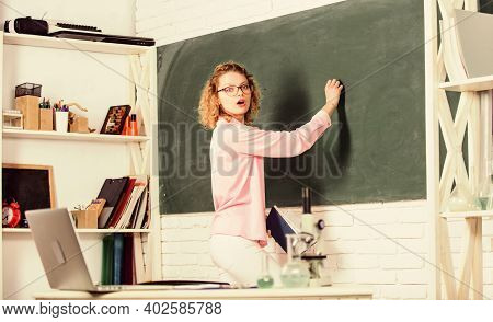 Structure Educational System. Girl Adorable Teacher In Classroom. Educational Program For Primary Sc