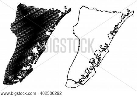 Cape May County, New Jersey (u.s. County, United States Of America, Usa, U.s., Us) Map Vector Illust