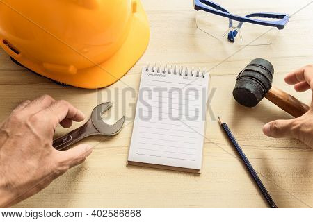 Hand People Man With Notepad For Checking Factory Or Industry On Desk For Note Writing Inspector.met