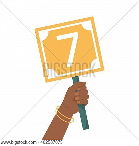Hand Holding Scorecard With Number 7 Vector Isolated