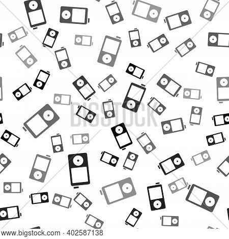 Black Music Player Icon Isolated Seamless Pattern On White Background. Portable Music Device. Vector