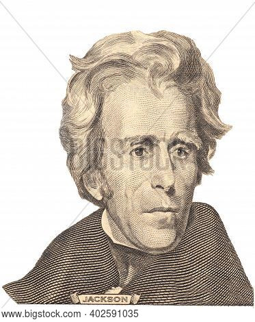 Portrait Of U.s. President Andrew Jackson.isolated On A White Background.