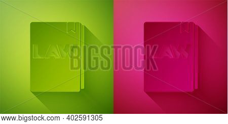 Paper Cut Law Book Icon Isolated On Green And Pink Background. Legal Judge Book. Judgment Concept. P