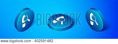 Isometric Magnifying Glass With Footsteps Icon Isolated On Blue Background. Detective Is Investigati