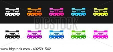 Set Cargo Train Wagon Icon Isolated On Black And White Background. Freight Car. Railroad Transportat