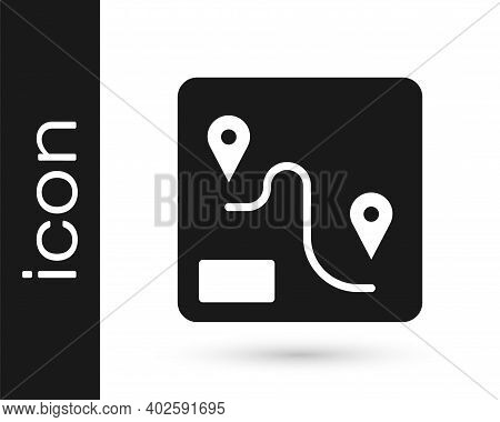 Black Route Location Icon Isolated On White Background. Train Line Path Of Train Road Route With Sta