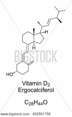 Vitamin D2, Ergocalciferol, Chemical Structure. Found In Food And Used As Dietary Supplement To Trea