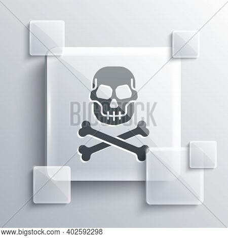 Grey Skull On Crossbones Icon Isolated On Grey Background. Happy Halloween Party. Square Glass Panel