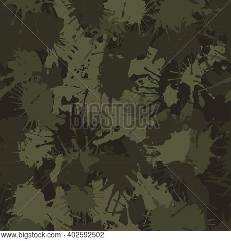 Blots Camo Seamless Chaotic Pattern Of Paint Splashes Spots. Vector Hand Drawn Camouflage Texture Fo