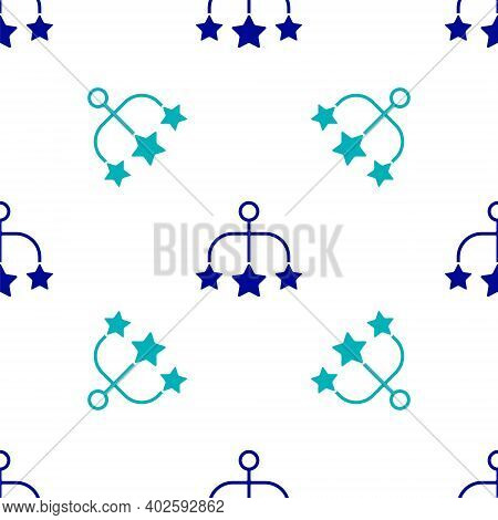 Blue Baby Crib Hanging Toys Icon Isolated Seamless Pattern On White Background. Baby Bed Carousel. V