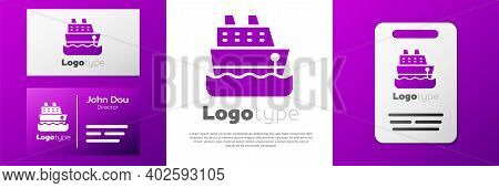 Logotype Cruise Ship Icon Isolated On White Background. Travel Tourism Nautical Transport. Voyage Pa