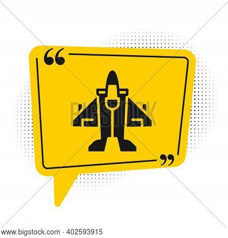 Black Jet Fighter Icon Isolated On White Background. Military Aircraft. Yellow Speech Bubble Symbol.