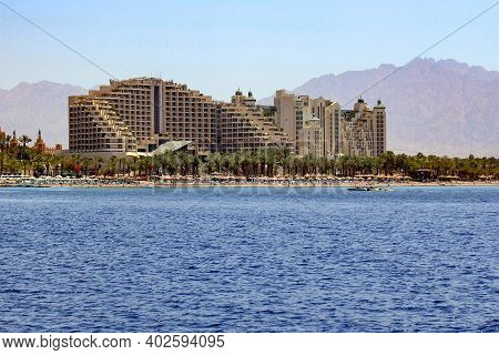 Eilat, Israel - May 13, 2011: This Is A Sea View Of A Modern Israeli Resort Complex Against The Back