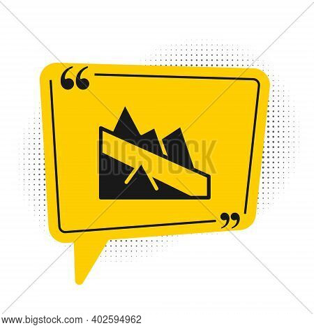 Black Mountain Descent Icon Isolated On White Background. Symbol Of Victory Or Success Concept. Yell
