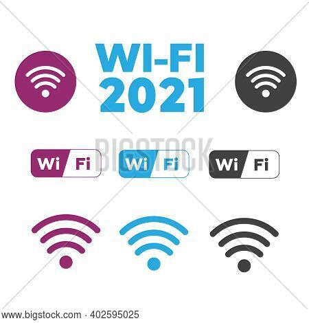 Set Of Different Vector Wireless And Wifi Icons. Free Wi-fi Icons And Wifi Applications