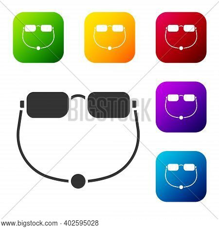 Black Eyeglasses Icon Isolated On White Background. Set Icons In Color Square Buttons. Vector