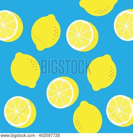 Lemon Vector Pattern. Abstract Pattern With Cartoon Lemons