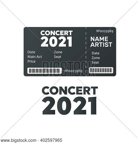 Music, Dance, Live Concert Tickets Templates. Ticket For Event.