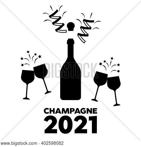 Toast Vector Champagne Glasses Icon. Champagne Logo Illustration