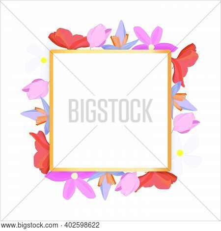 Tropical Flowers Around A White Frame Copy Space. Bright Abstract Background For Banner, Flyer Or Co
